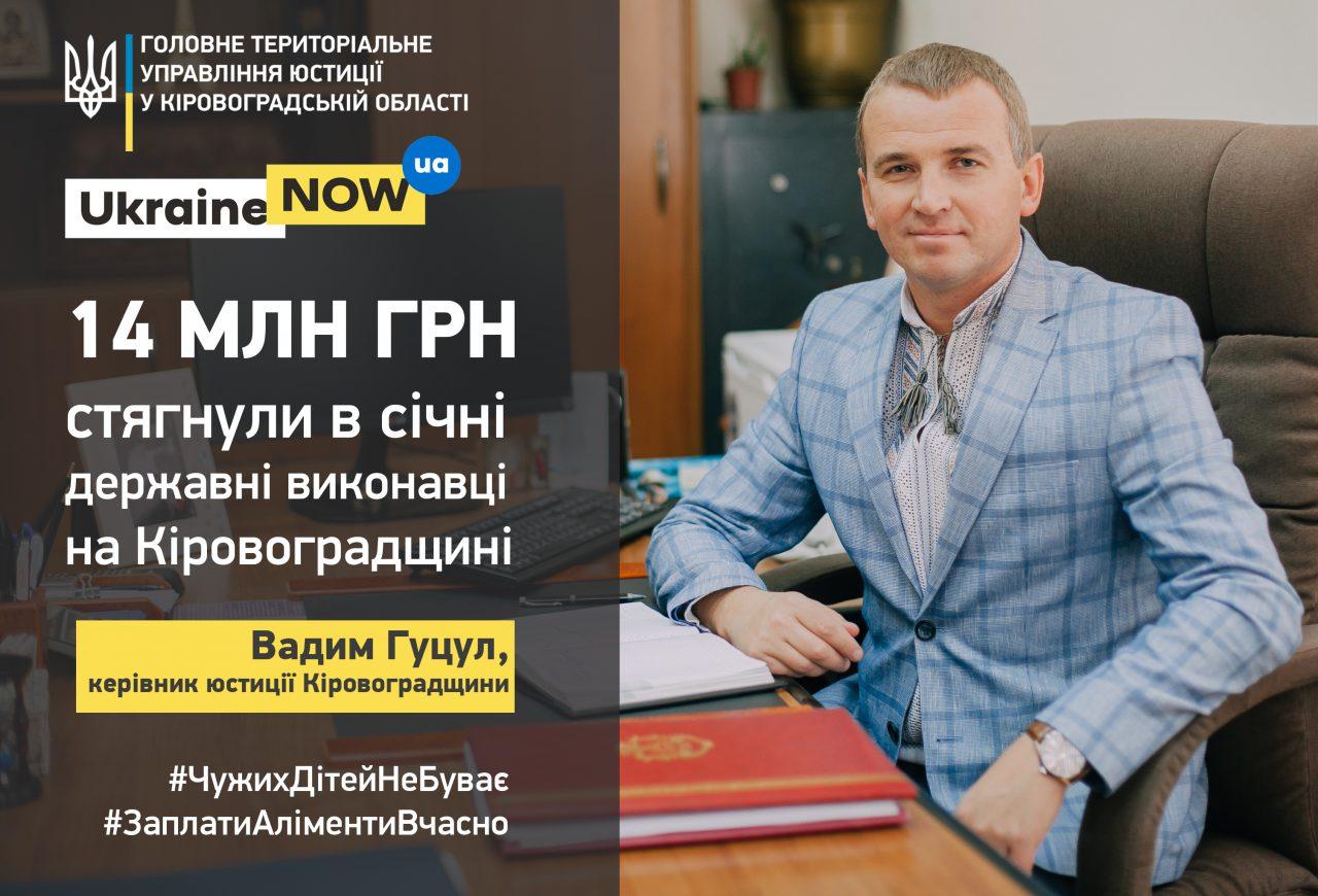 Вадим Гуцул:  за один місяць діти з Кіровоградщини отримали понад 14 млн грн аліментів