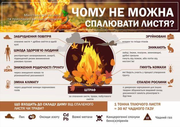 Переконливе прохання – не паліть листя та сміття!